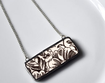 Broken China Jewelry Bar Necklace - Brown and White Line