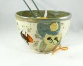 Handmade Ceramic Yarn Knitting Bowl with Owl , Pottery Yarn Bowl, Yarn Organizer, Handmade in colorado YB82