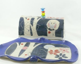 Ceramic Butter Dish with Lid with owl, Lidded Butterdish, Covered Butter Dish,- Tray for Butter, Oleo, Margarine , Kitchen Storage 440
