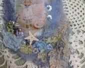 Felted embellished lavender filled brooch beach theme