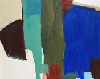 abstract art, contemporary art, modern art, mid century modern art, abstract buffalo gender neutral art turquoise