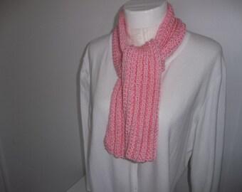 Child's  Scarf Hand Knit Scarf Pink Scarf  Rib Scarf Thick, Warm Scarf