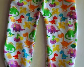 Semi-Custom, Rainbow Dinos, Cuffed Pocket Pants Size 0-3m to 5-6