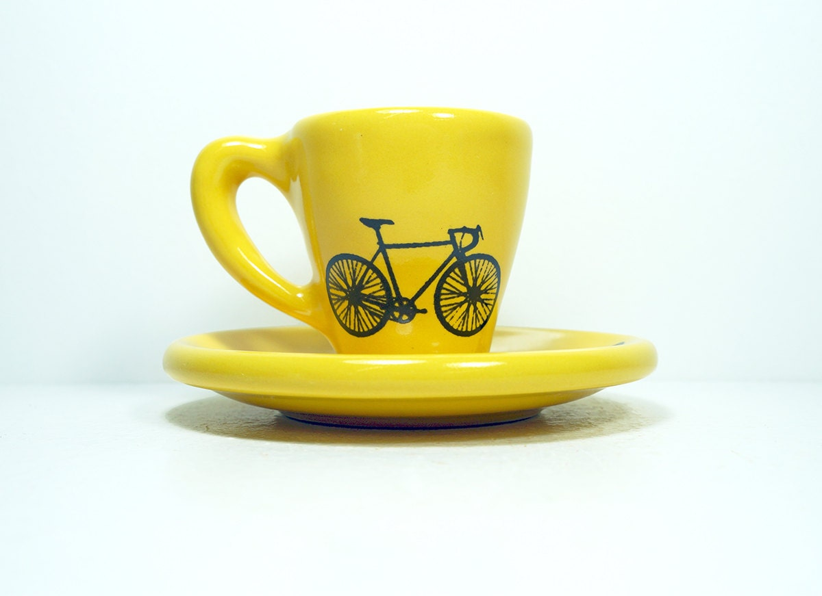 Tour de France. Espresso cup w/saucer (yellow jersey) Made to Order.