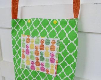 Girls Green Purse - Girls Tote Bag - Green Purse with Pineapple Pocket - Girls Church Bag - Girls Scripture Bag