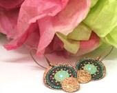 Artisan Copper Earrings, Colorful Copper and Mexican Folk Art Earrings, Folk  Art Jewelry, Hammered Copper Earrings, Mexican Folk Art