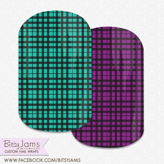 ... Wraps - Green and Purple Plaid Nail Art - Jamberry Nail Art Studio