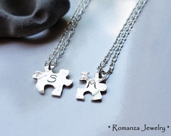 Couples Personalized Letter Puzzle Piece Set Necklace - Father's Day - Mother daughter - Anniversary - Friendship necklace - Romanza Jewelry