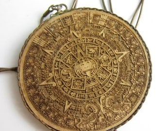 Aztec Calendar Necklace - Set in copper on Copper Snake Chain