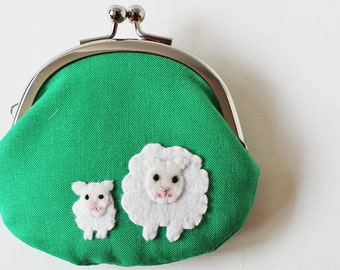 Handmade coin purse sheep and lamb on green, kiss lock coin purse, change purse, frame pouch, kelly green, white, farm animal, spring
