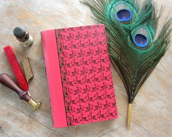 Pirate Lair, 1947 Upcycled Long Stitch Journal, unlined parchment pages, Ready to Ship