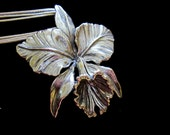 HUGE Sterling Silver Orchid Necklace