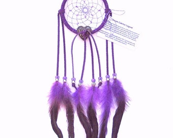 Purple Dream Catcher, Bronze Rooster Feathers