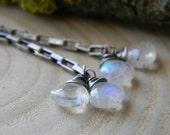 petite rustic rainbow moonstone swinger earrings - oxidized sterling silver - long earrings