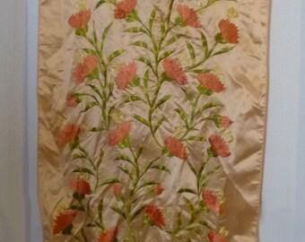 Stunning Vintage 70s Cream Rose Pink Embroidered Boho Scarf