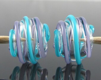 Purple and Blue Hollow Wrap Lampwork Glass Beads