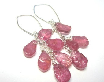 CIJ 35% OFF Pink Sapphire Cluster Earrings. Genuine Raw Pink Sapphires. Sterling Silver.
