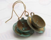 Earrings with Aged Brass Teacup Charms Verdi Gris, Tea Cup, Whimsy, Whimsical, Tea Time, Coffee Cup, Ladies & Teen Jewelry