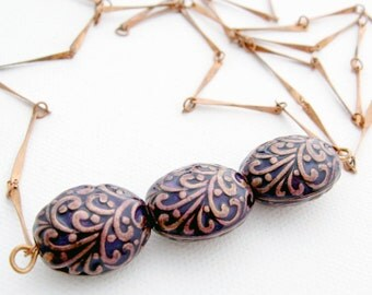 Long Copper Bar Chain Necklace with Cobalt Enameled Copper Scroll Eggs, 36 In, Layering Necklace, Boho Jewerly, Minimalist Jewelry, Opera