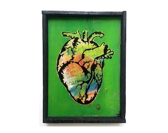 8 x 10 Anatomical Heart Shadowbox, Painted 1961 newspaper, Salvaged Material, Recycled Art, found paper, colorful, green