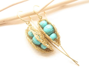 Turquoise Golden Pea Pods