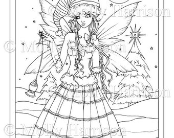 Christmas Fairy - Printable Instant Download - Adult Coloring Page - Christmas Angel - Fairy, faery, faires, elf, snow, Molly Harrison