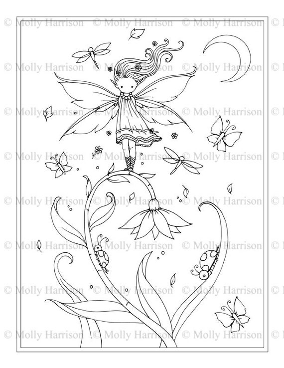 Tiny Flower Fairy Printable Coloring Page Whimsical