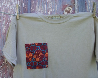 Child Size Large 14/16 Tan T-Shirt with Monster Creature Pocket