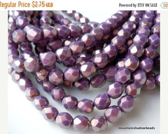25% OFF Summer Sale Czech Glass Bead 6mm Faceted Round Bead - Halo Ethereal Regal - 25