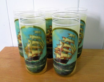 5 vintage ship glasses with rubber coating