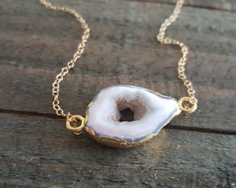 White Agate Necklace, Druzy Necklace, Geode Gold Necklace, Layering Necklace