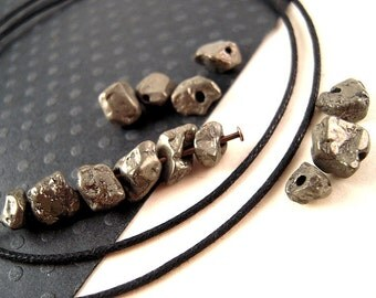 Chunky Smooth Irregular Pyrite Nuggets, Pyrite Beads, 5mm, 8mm, FULL Strand, UBER Organic, Natural Pyrite, Fools Gold, Masculine Stone V14