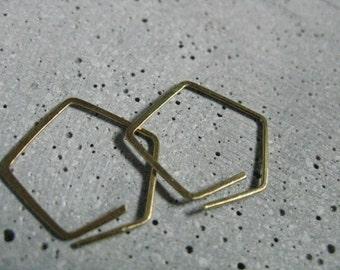 Polygon / geometric open hoops,  dainty gold brass earrings,  minimalist modern , 925 silver option