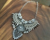 Multi Layered Silver boho Statement Necklace - Coin Crystal Collar - Rhinestone chain collar - crystal statement bohemian - NYE sparkle