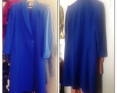 Vintage Royal Blue Wool Coat Size Large 10 12 - Double Breasted - Made in Malasia
