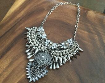 Multi Layered Silver boho Statement Necklace - Coin Crystal Collar - Rhinestone chain collar - crystal statement bohemian - NYE sparkle