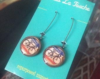 Bicycle Earrings - Bike Earrings - Vintage Copper Penny Earrings - bike lover - repurposed coin  - Lucky Penny coin jewelry
