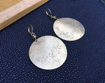 Brass Textured Earrings - Statement Earrings - Oval Textured Earrings - oversized statement earrings - FREE Shipping USA