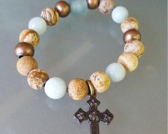 Bohemian semi precious stone stacking bracelet