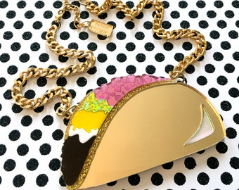 Taco Laser Cut Acrylic Necklace