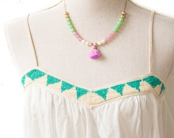 Beaded Tassel Necklace, Purple and Mint Beaded Necklace, Tassel Bead Necklace