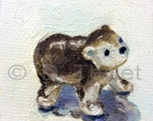 Little Bear- OOAK Original Miniature Oil Painting
