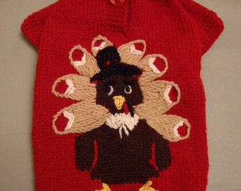 thanksgiving hand knitted sweater - made to measure so that it fits your pet perfectly