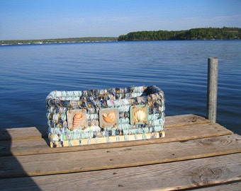 SEASHELLS  textile art  BASKET storage box  Beach House  Series