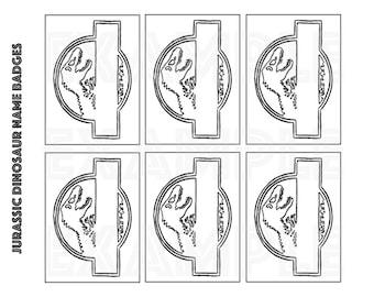 PDF: Jurassic Dinosaur Party Name Badges