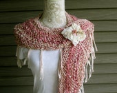 Hand knit women's shawl in shades of pink, pashmina shawl, fringed shawl, fall winter shawl, hand spun yarn shawl, a triangle shawl