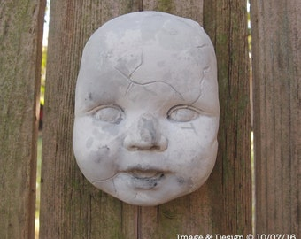 Plaster Decayed Doll Head Wall art by Ugly Shyla - dolls - gothic home - decor - creepy doll