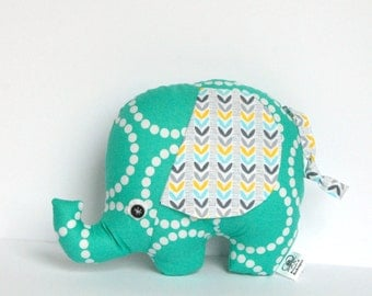 Stuffed Elephant Plush Softie Teal, Gray and White Baby Boy  Baby Girl Gift