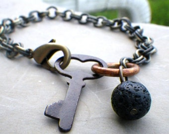 mens unisex bracelet with chunky chain, mens chain bracelet, antique skeleton key, black lava stone bead