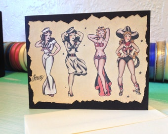 sailor jerry hello sailor birthday card, tattoo birthday card, Birthday card